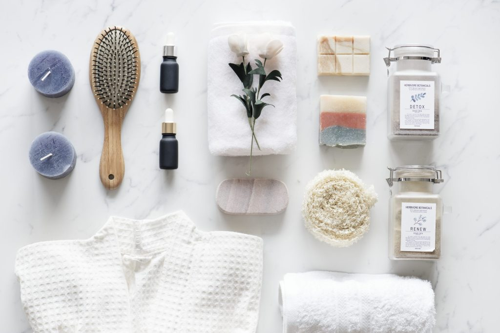 tools, towels and soaps for a relaxing home spa day