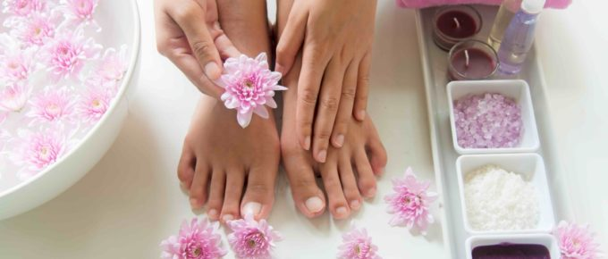 beautiful hands and nails with flowers